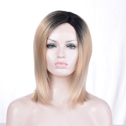 Wholesale Wig Blond Short - kabell African American Fashion wigs lace front wigs Black root blond 613# Mixed hair Short hair 12 inch hair lace front wigs Free freight