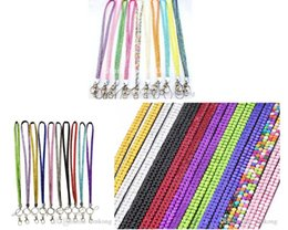Wholesale Rope Neck Chains - 3pcs retail Pendant Necklaces Bling Lanyard Crystal Rhinestone in neck with claw clasp ID Badge Holder for Mobile phone 40 colors