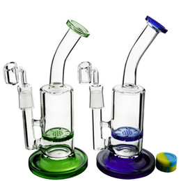 Wholesale Quartz Blue - Mini Glass Water Bongs with Honeycomb Perc Oil Rigs Daily Dab Rigs Tornado Disc Perc Blue Green Colors Glass Pipes & Gift Quartz Banger