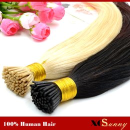 "Wholesale Pre Bonded Indian Human Hair - XCSUNNY I Tip Virgin Hair Extensions 18""20"" Natural Hair Extensions Keratin 100g 1g s I Tip Human Hair Extensions Ombre"