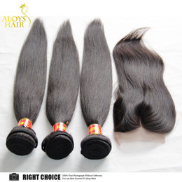 Wholesale Double Lace Top - Human Hair Weave with Top Lace Closures Brazilian Peruvian Indian Malaysian Virgin Straight hair Bundles Grade 6A Natural Color Double Wefts