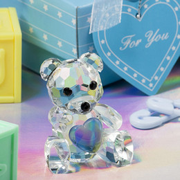 Wholesale Crystal Figurines Wholesale - FREE SHIPPING Baby Shower Favors Choice Crystal Collection Teddy Bear Figurines -Blue Crystal For Boy+30pcs lot