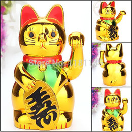 Wholesale New Wave Electric - New Plastic Electric Waving Lucky for Cat Feng-Shui Lucky MoneyCat Maneki Neko Gold by AA Battery Free Shipping order<$18no track