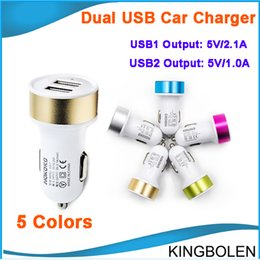 Wholesale S3 Mini Gold - Universal Dual USB Car Charger Mini Car charger Adapter can for iphone 5 4 4S 6 Cell Phone Pad MP3 MP4 player mobile i9500 s3 DHL Free
