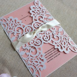 Wholesale Customized Invitations - Customize floral wedding invitations white laser cutting invitation envelop with pink inner card free printing for spring summer wedding