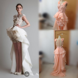Wholesale Vintage Button Brooch - 2015 Celebrity Evening Gowns Organza Hi-Lo Arabic Sexy Prom Bridal Dresses With Applique Hand Working And Asymmetrical Train Wedding Dresses