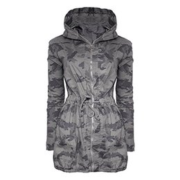 Wholesale Womens Camouflage Hoodies - Womens Outdoor Jackets Hoodies Ladies Sports Outfits Hooded Coats Long Sleeve Printing Camouflage Coat Jacket Windbreaker Outwear