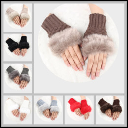 Wholesale Ladies Hand Gloves - Hot Selling Artificial Rabbit Fur Mittens 10 Colors Knitted Fingerless Gloves Hand Glove Winter Half-fingers Ladies Women Girls Mittens