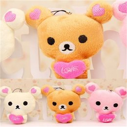 Wholesale Love Sweet Bear - Wholesale-FD3096 new Sweet Love Bear Plush Toy Doll Keychain For Cellphone Bag Decor Gift 1PC
