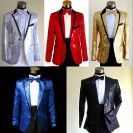 Wholesale Silk Suits 46 - 2015 Mens Suits Sequined Fabric Men's Tuxedos bridegroom Notched Lapel Four Piece Wedding Suits Suts Blue Formal Groom Suits Party Wear