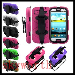 Wholesale Galaxy S3 Clip - Belt Clip Shockproof Heavy Duty Military Armor Stand Case for iPhone 4S 5 5S 5SE 5C Touch5 Galaxy S5 S4 S3 Note 3