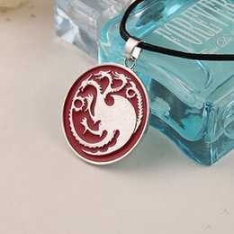 Wholesale dragon link - 2017 Fashion Song Of Ice And Fire Necklace Game Of Thrones Targaryen Dragon Badge Pendant Necklaces Factory Direct Sale ZJ-0903081