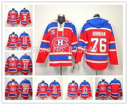 Wholesale Cheap Fleece Hoodies - Cheap Montreal Canadiens Hockey Hoodies Sweatshirt 31 Carey Price 33 Patrick Roy 76 P.K. Subban Blank Red Fleece Hooded Jerseys