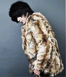 Wholesale Leopard Fur Coat Rabbit - Fall-Plus Size Leopard Print Coat 2016 Winter Men Coat Casaco Masculino Long Cloth Warm Vintage Faux Rabbit Fur Jacket Outwear X721