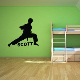 Wholesale Karate Martial Arts - Karate Martial Arts Custom Any Boys name Wall Decal Art Decor Personalized Wall Stickers for Kids Room
