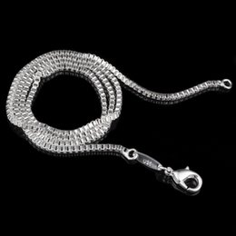 Wholesale Solid Sterling Silver Snake Chains - 4 STYLE AVAILABLE ! Solid .925 Italian Sterling Silver Square Link Venetian Necklace Box Chain 1.4mm 2MM 4MM 16 18 20 22 24 INCH 50PCS
