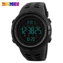 Wholesale Chrono Steel Pink - SKMEI Men Sports Watches Countdown Double Time Watch Alarm Chrono Digital Wristwatches 50M Waterproof Relogio Masculino 1251