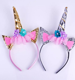Wholesale horn hair sticks - Fashion Magical Girls Kids Decorative Unicorn Horn Head Fancy Party Hair Headband Fancy Dress Cosplay Costume Jewelry Gift