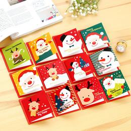 carte di invito di nozze bianche all'ingrosso Sconti 12pcs / lot Cute Cartoon Christmas Card Mini Greeting Card Imposta la carta di benedizione del messaggio con le buste