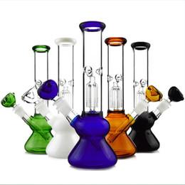Wholesale Percolator Glass - Colorful Heady Glass Water Pipes 4 Arms Tree Perc Thick Beaker Bong Percolators Bongs Diffused Downstem Dab Oil Rigs Quartz Banger WP307