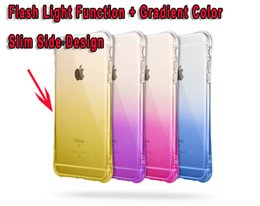 Wholesale Iphone Flash Skin - Bling Call Lightning Flash LED Light Up Phone Case For Iphone 6 6S Plus 4.7 Silicone Hybrid Soft TPU Silicone Clear Dual Two Tone skin cover