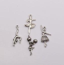 Wholesale Charms Mix Zinc - Hot Sale ! 100 pcs Antique silver Zinc Alloy Mixed Dance girl Charm Pendants DIY Jewelry