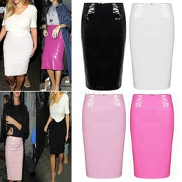 Wholesale Skirt High Waist Free Shipping - 2015 new plus size high-waist PVC leather pencil skirt sexy bodycon knee length skirt free shipping 4 colors 51