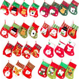 Wholesale Fabric Christmas Tree Ornament - Christmas Bag Ornaments Sequins Embellished Non Woven Fabrics Christmas Socks Party Gifts For Kids Candy Bag Christmas Stockings IC828