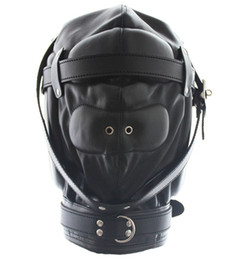 Wholesale Sexual Device Adult - Sexual Game Bondage Gear BDSM Leather Restraint Full Cover Hood Faux Leather Mask ex toys Adult Products Device