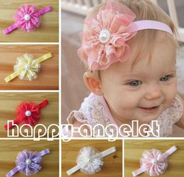 Wholesale Infant Princess Accessories - 50pcs Hair Accessories For Infant Baby Lace Big Flower Pearl Princess Babies Girl Hair Band Headband Baby's Head Band Kids Hairwear G8618