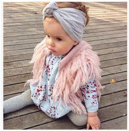 Wholesale Cute Feather Vest - European&American Style Baby Girls Tassel Fur Waistcoat Children Fashion Autumn Winter Sweater Vest Outwear Kids Clothing Cute Girl Clothes