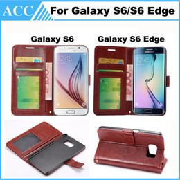 Wholesale Id Holder Flip Wallet - For Galaxy S6 S6 Edge Flip PU Leather Case Cover Wallet Photo Frame ID Card Holder Stand For Samsung S6 S6 Edge 10pcs