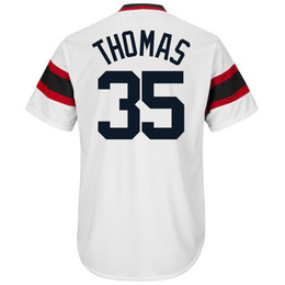 Wholesale Navy Cool - Men's #35 Frank Thomas White Navy Blue Home Cool Base Cooperstown Collection Player Jersey