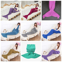 Wholesale Wholesale Crochet Bags - Mermaid Blankets Kids Mermaid Tail Blankets Knitted Crochet Sleeping Bags Siesta Cocoon Mattress Mermaid Sofa Air Christmas Blankets A3580