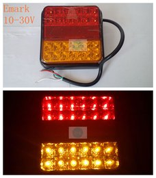 Wholesale Led Stop Lights For Trucks - E-mark 1 pair HOT 10-30V 24 LED red wiht yellow Rear Tail Lights Stop Indicator Lamp for Truck Trailer