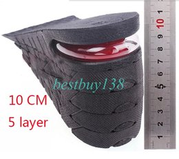 Wholesale Women Height Increasing Insoles - palmilha Shoe Insole 5 Layer Air Cushion Heel insert Increase Taller Height Lift 10 cm 4 inches for women men Black color