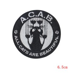 Wholesale Pants Machines - A.C.A.B Cartoon cat patch decorative Decal affixed cloth denim pants repair subsidies patches scrapbooking applique OUTLET STORE
