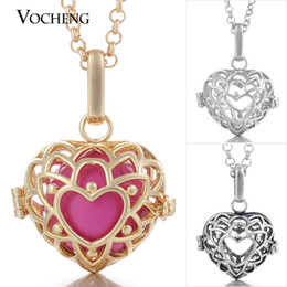 Medallón mexicano online-VOCHENG Mexican Chime Heart Locket Collar Colgante Joyas Mujeres Angel Ball Necklace con Cadena de Acero Inoxidable VA-063