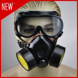 Wholesale Chemical Filter Masks - 1504-Double Gas Mask protection filter Chemical Gas Respirator Face Mask Cheap-Wholesale