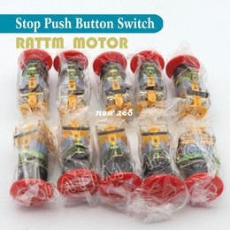 Wholesale Emergency Mushroom Push Button Switch - 10PCS 22mm Red Signal Ignition Emergency Stop Switch PushButton Mushroom Push Button 22mm Mounting Hole Self locking