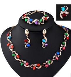 anillos de boda de diamantes amarillo conjuntos Rebajas Moda para mujer 18k chapado en oro amarillo CZ Diamond Necklace + Earrings + Ring + Pulsera Wedding Jewelry Sets