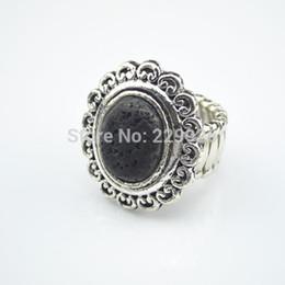 Wholesale Order Finger Ring - R819(Min. Order $5)Volcano Stone Adjustbale CCB Elastic Ring Black Lava Rock Vintage Look Antique Silver Free Size Finger Ring