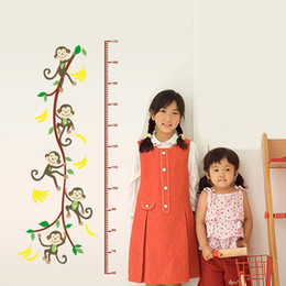 Wholesale Children Height Measurement Sticker - Cute Monkey Tree Height Scale Wall Decals Measurement Child Art Mural vinilos infantiles pegatinas Wall Stickers for Kids Rooms