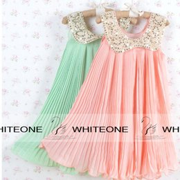 Wholesale Hot Pink Dresses For Weddings - 2015 Summer Chiffon Wedding Dresses For Kid Girl Coral Mint Flower Girls Dresses With Gold Sequins Crew Vintage Flower Girls Dresses HOT