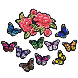 Wholesale Butterfly Jeans - 11PCS Small Butterfly Embroidery Patches for Clothing Applique Iron on Transfer Patch for Jeans Bags DIY Sew on Embroidery Badge