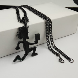 Wholesale Icp Hatchetman Necklace - Free ship Plated black ICP Jewelry Punk Stainless Steel large 2'' Hatchetman Juggalette Pendant with 5mm 24inches Cuban Chain Necklace