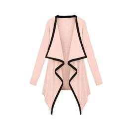 Wholesale Trench Coat For Women Pink - New Asymmetric Outerwear Spring trench coat for Women Contrast Coat Long Sleeve Cape Cardigan Tops manteau femme Cardigan order<$18no track