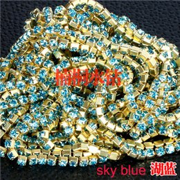 Wholesale Jewelry Sewing Charms - jewelry findings claw chains cup ss8.5 close sew glass crystal gold base blue copper phone shell clothes woman dress 2.5mm 5pcs