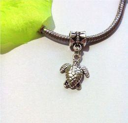 Wholesale Turtle Beads For Bracelet - 150pcs Tibetan Silver Plated Turtle Dangle Bead for European Bracelet Charm Pendant for Jewelry Making Handmade 28x12mm