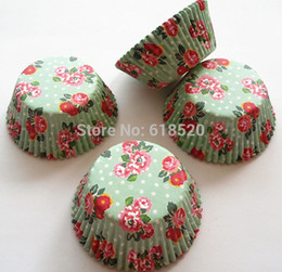 Wholesale Paper Flower Cups - Free Shipping 300pcs Nice Green Flower Cupcake Liners Paper Baking cup Cake Mould Wedding Party Decorations